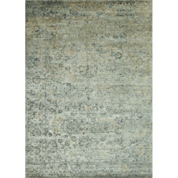 Leffel Hand-Knotted Blue/Beige Area Rug by Rosdorf Park