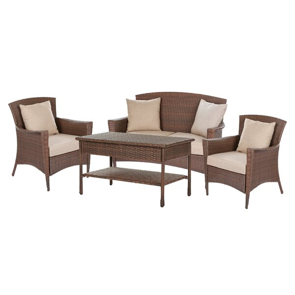 Rabun Garden Patio 4 Piece Sofa Seating Group with Cushions by August Grove
