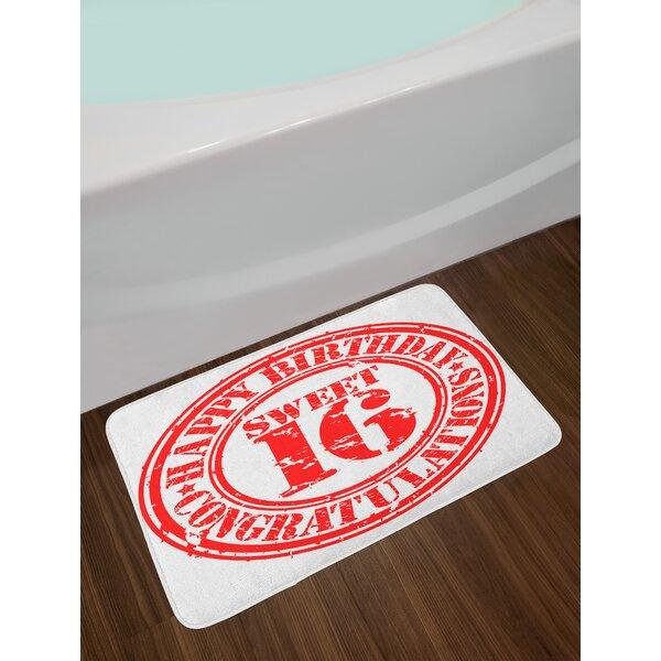 Vintage 16th Birthday Bath Rug by East Urban Home