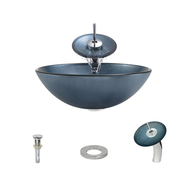 Hand-Painted Glass Circular Vessel Bathroom Sink with Faucet by MR Direct