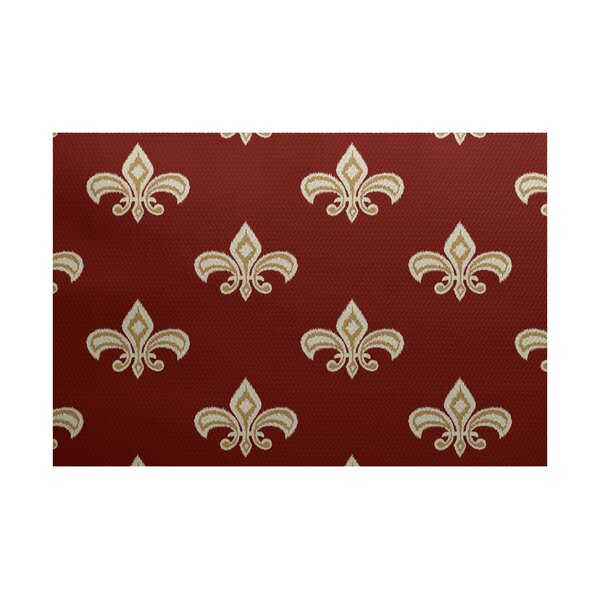 Bayliff Fleur de Lis Ikat Print Orange Indoor/Outdoor Area Rug by Astoria Grand