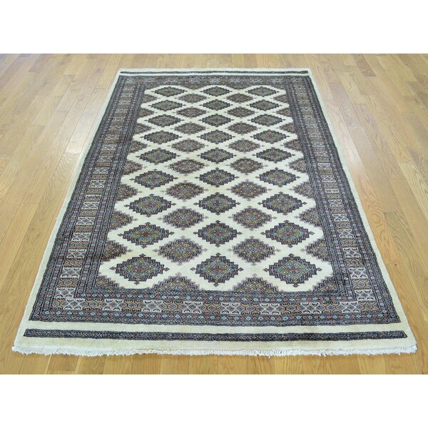 One-of-a-Kind Bill Bokara Jaldar Design Hand-Knotted Ivory Wool Area Rug by Isabelline