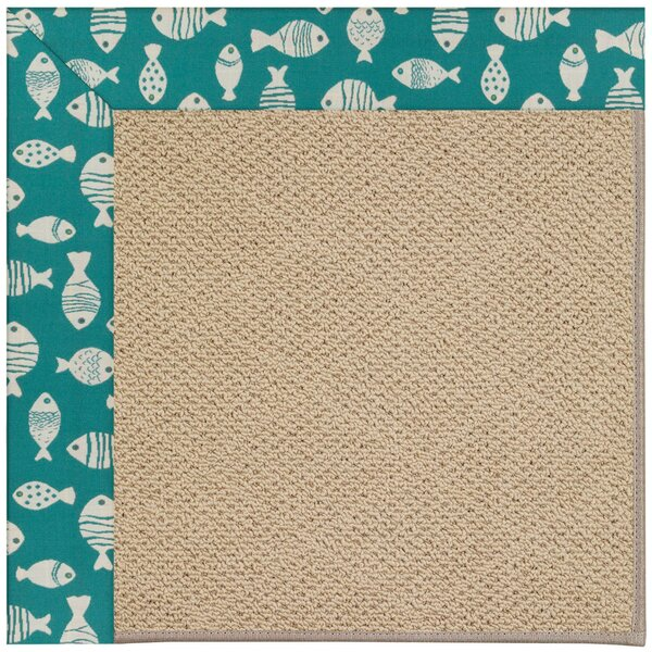 Lisle Machine Tufted Sea Green/Brown Indoor/Outdoor Area Rug by Longshore Tides