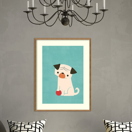 Wade My Red Ball (Pug) Framed Graphic Art Print by Harriet Bee