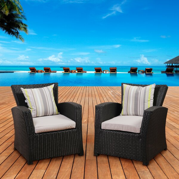 Valetta Patio Chair with Cushion (Set of 2) by Beachcrest Home Beachcrest Home