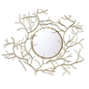 Bungalow Rose Bucher Round Metallic Gold Branch Wall Mirror