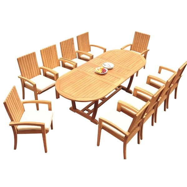 Williamson 11 Piece Teak Dining Set by Bayou Breeze