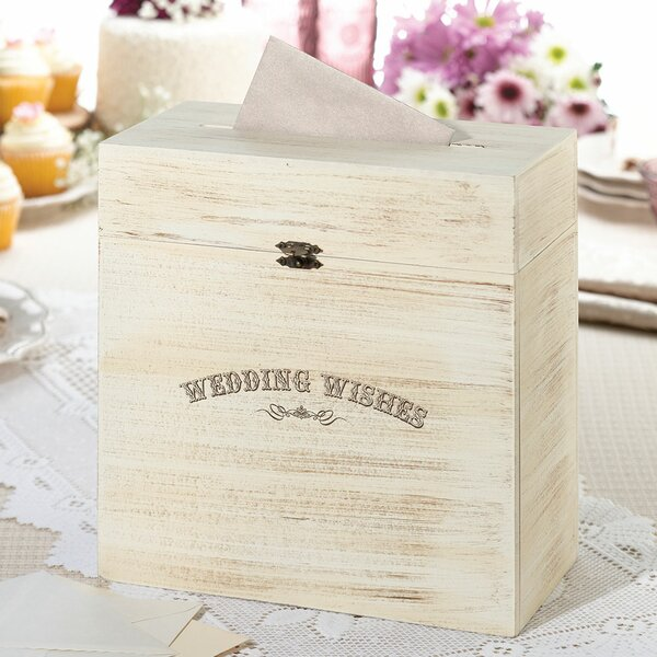 Wedding Wishes Rustic Wooden Card Box by Lillian Rose