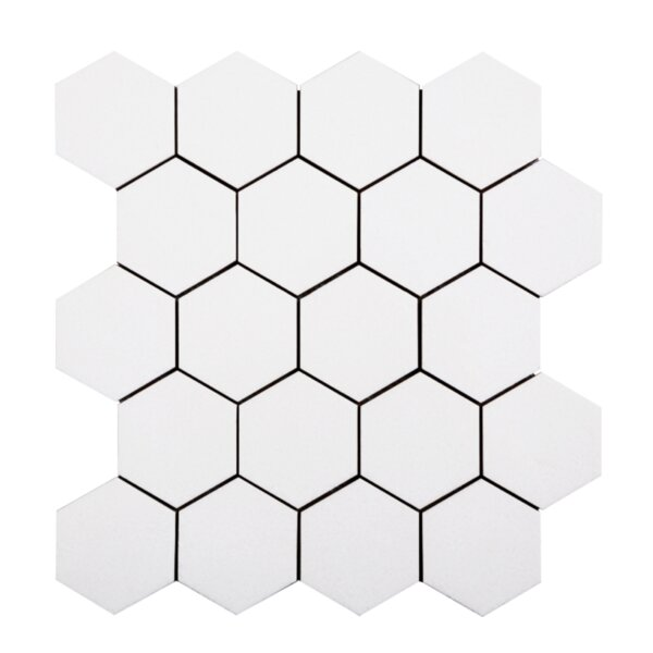 Hexagon 3'' x 3'' Glass Mosaic Tile in White by Lion Tiles