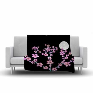 Reviews Julia Grifol Cherry Blossom at Night Fleece Blanket By East Urban Home
