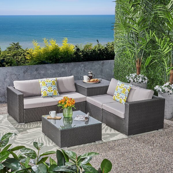 Paloalto Patio 6 Piece Sectional Seating Group with Cushions by Brayden Studio