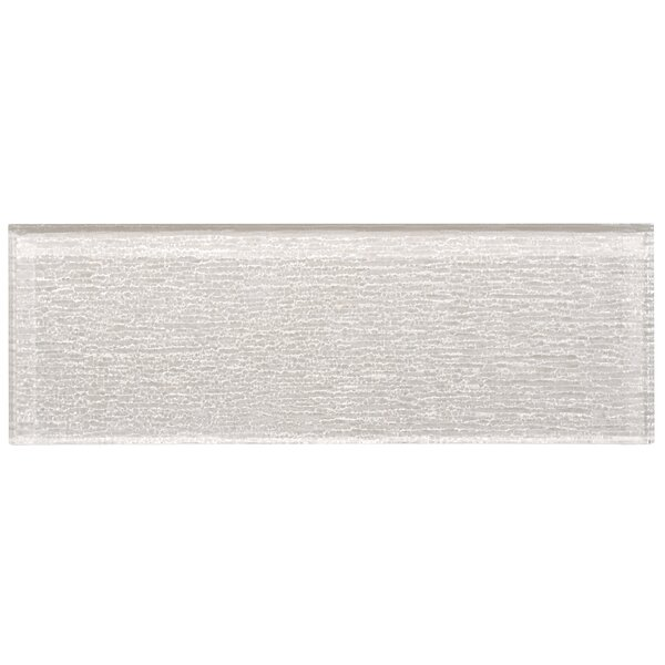 Premium Series Individual 4 x 12 Textured Glass Subway Tile in Icy Gray by WS Tiles