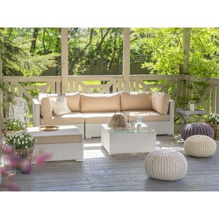 Mcloughlin Outdoor 5 Piece Rattan Sectional Set with Cushions By Rosecliff Heights