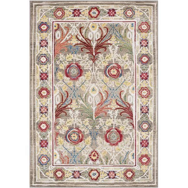 Arbouet Floral Brown/Cream Area Rug by Charlton Home