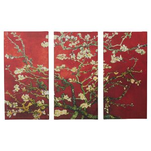 'Interpretation in Red Almond Blossom' by Vincent Van Gogh 3 Piece Painting Print Gallery-Wrapped on Canvas Set by World Menagerie