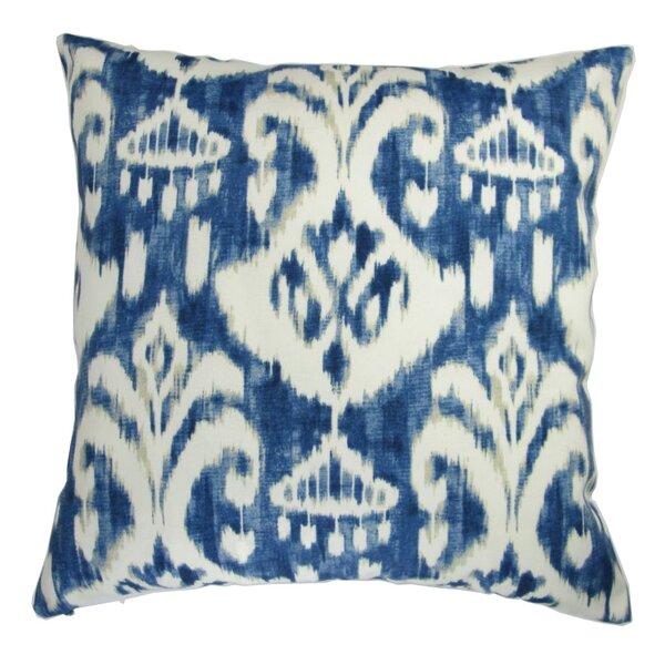 Beare Modern Ikat Print in Indigo Indoor/Outdoor Pillow by Bloomsbury Market
