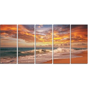 'Waves Under Colorful Clouds' 5 Piece Photographic Print on Wrapped Canvas Set by Design Art