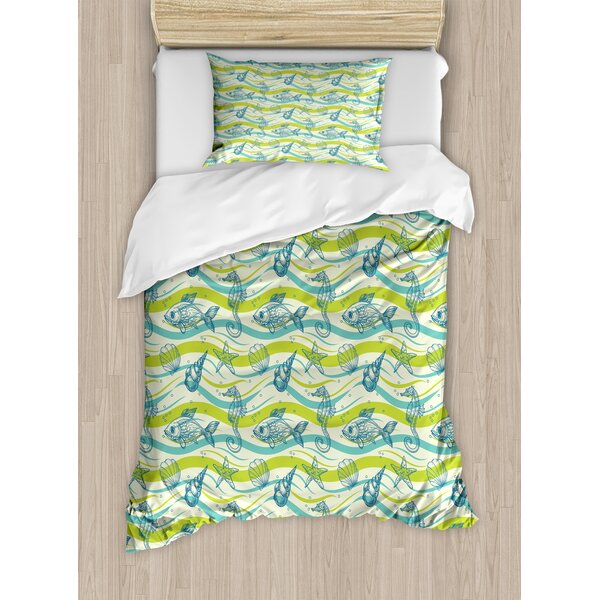Starfish Oceanic Wave Inspired Lines Sketchy Bubbles Seahorse Fish Cockleshell Art Duvet Set by East Urban Home