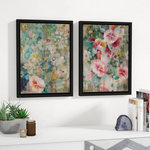 Flower Shower Crop 2 Piece Framed Painting Print Set by Bungalow Rose