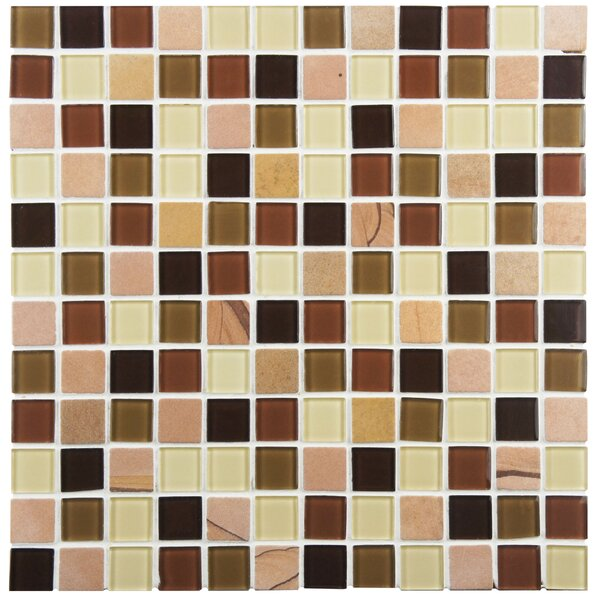 Chroma 0.88 x 0.88 Glass and Natural Stone Mosaic Tile in Brown/Tan by EliteTile