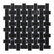 Nero Marquina Basket Weave 1 x 2 Marble Mosaic Tile in Black by Seven Seas