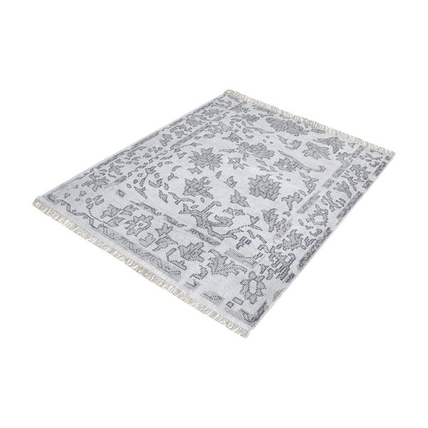 Kinkade Square Hand-Knotted Gray Area Rug by Charlton Home