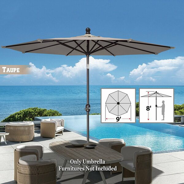 Tatum Patio Umbrella Battery Operated LED Garden Parasol Market Umbrella by Freeport Park
