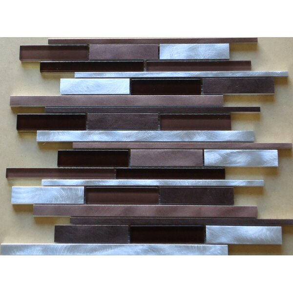 Urban Random Sized Aluminum and Glass Metal Look Tile in Glossy Gray/Brown by Mulia Tile