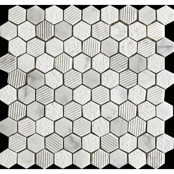Marmol Statuario Hex Mix 0.75 x 0.75 Natural Stone Mosaic Tile in White Marble by Kertiles