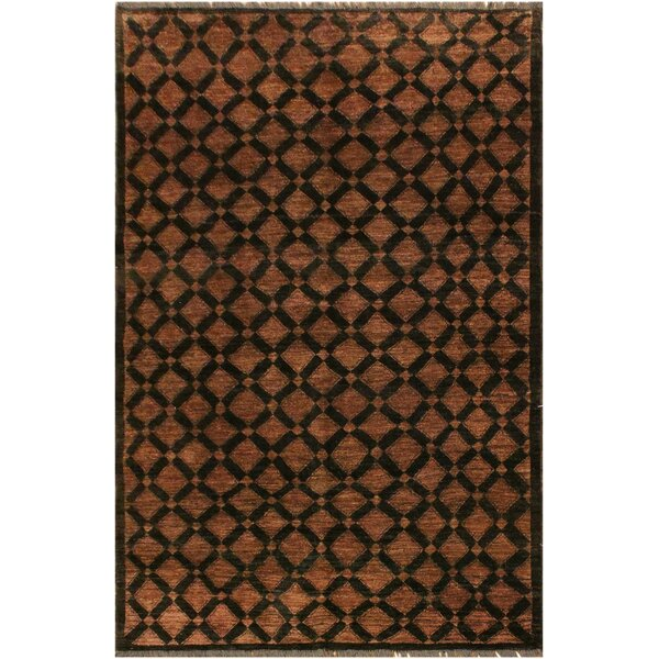 One-of-a-Kind Lyles Hand-Knotted Wool Black/Brown Area Rug by World Menagerie