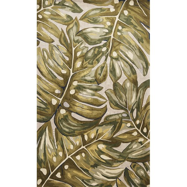 Springwater Palms Hand-Tufted Wool Green Area Rug by Bay Isle Home
