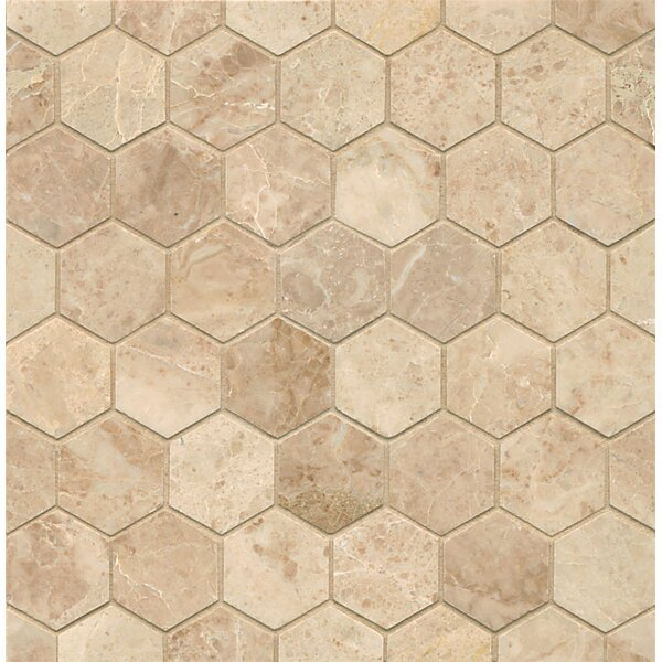Hexagon 2 Marble Polished Mosaic Tile in Cappuccino by Grayson Martin