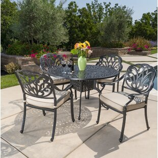 Dunnes 5 Piece Dining Set with Sunbrella Cushions ByDarby Home Co