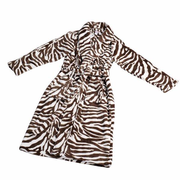 Zebra Flannel Fleece Bathrobe by Home Soft Things