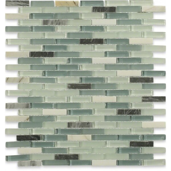 Cleveland 0.5 x 1.5 Glass/Marble Mosaic Tile in Frosted Seafoam Green/Gray Stone/Light Gray by Splashback Tile