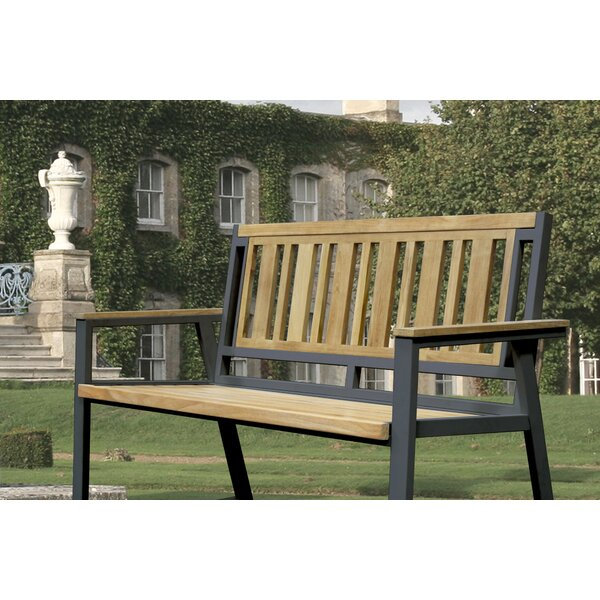 California Room Chino Teak and Iron Park Bench by Asta Furniture, Inc.