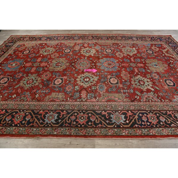 One-of-a-Kind Omena Hand-Knotted Before 1900 Serapi Red/Brown 8'1 x 12'3 Wool Area Rug