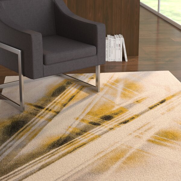 Devanna Stripes Modern Beige Area Rug by Ebern Designs