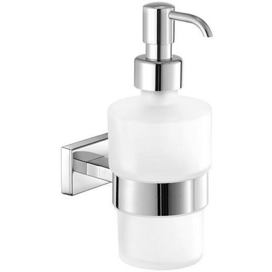 Snead Wall Frosted Glass Pump Soap & Lotion Dispenser by Orren Ellis