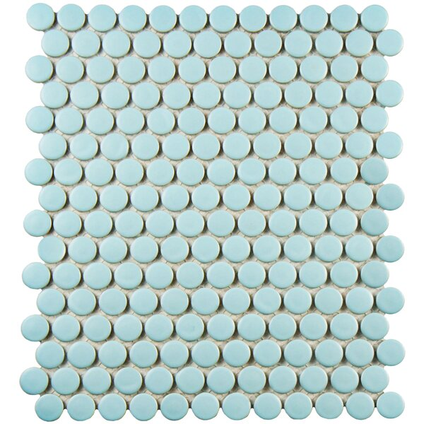 Retro 9.75 x 11.5 Porcelain Mosaic Tile in Light Robin Egg Blue by EliteTile