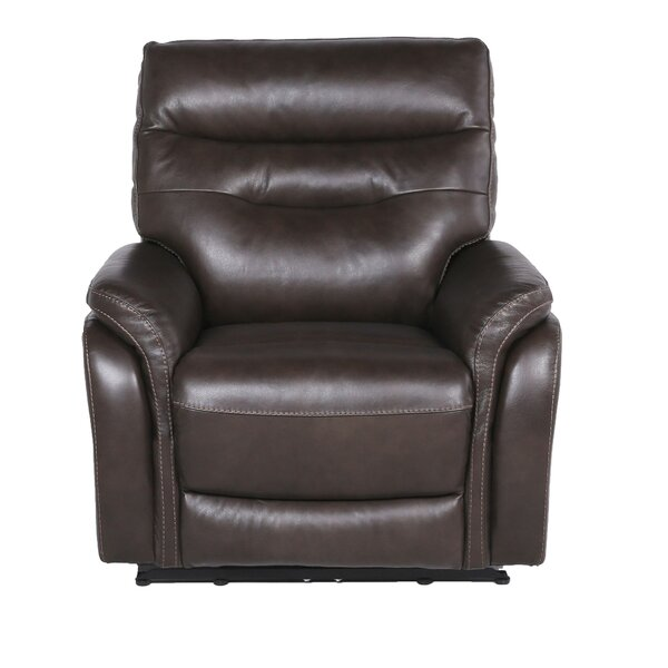 Javon Leather Power Recliner Red Barrel Studio W000282897