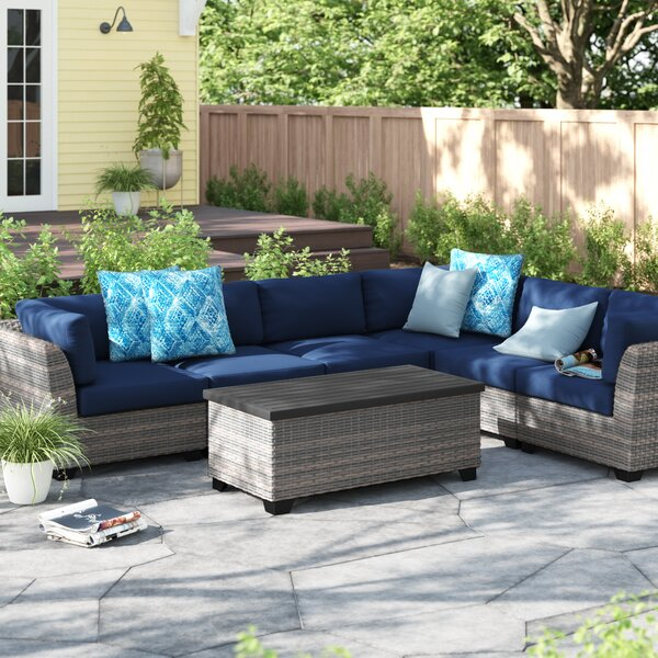 Merlyn 7 Piece Rattan Sectional Seating Group with Cushions by Sol 72 Outdoor