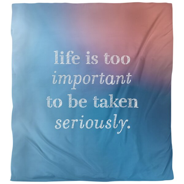Quotes Life and Levity Single Reversible Duvet Cover