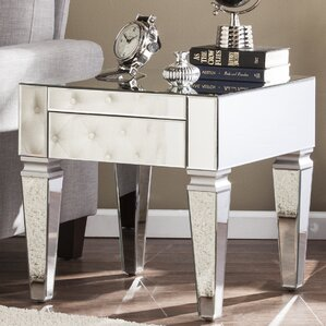 Karina Contemporary Mirrored Square End Table by Willa Arlo Interiors