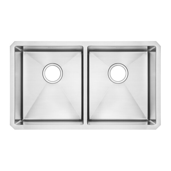Pekoe 29 L x 18 W Double Basin Undermount Kitchen Sink with Grid and Drain by American Standard