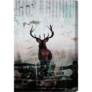 'Red Stag' Graphic Art Print on Canvas by Oliver Gal