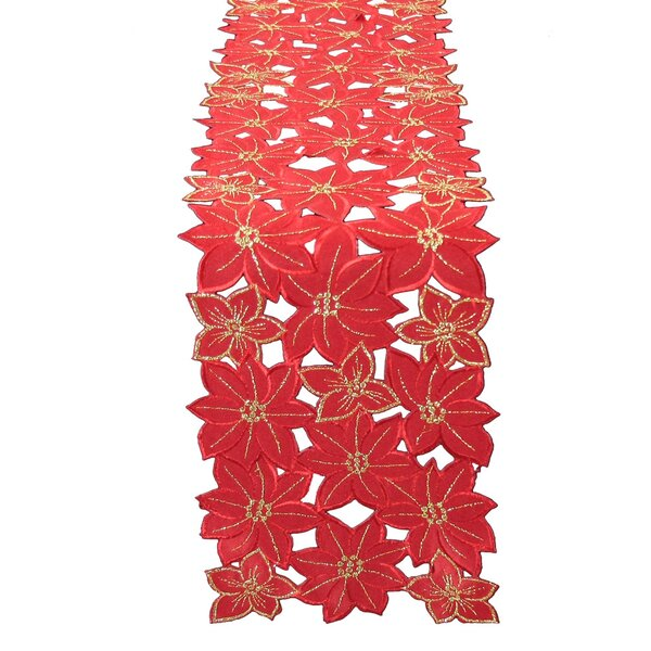 Festive Poinsettia Embroidered Cutwork Holiday Tab