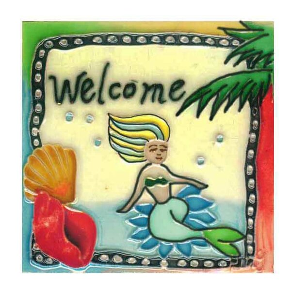 Welcome Mermaid Tile Wall Decor by Continental Art Center