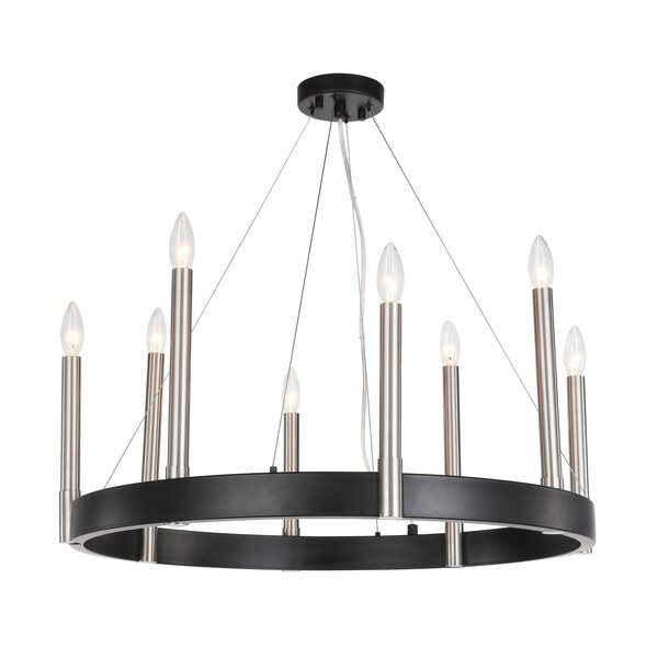 Ostrom 8 - Light Candle Style Wagon Wheel Chandelier With Crystal Accents By Orren Ellis