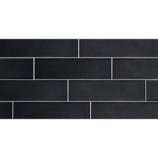 Secret Dimensions 3 x 12 Glass Subway Tile in Glossy Dark Gray by Abolos